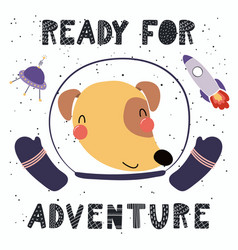 Cute dog in space vector