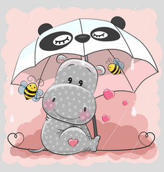 Cute hippo with umbrella vector