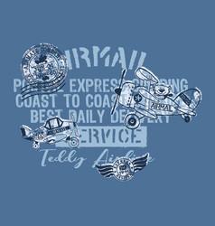 cute teddy bear airmail company vector image