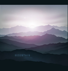 Dark blue mountain landscape with fog vector