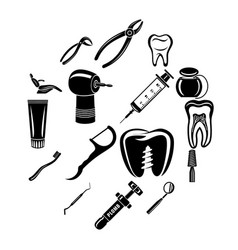 dentist stomatologist icons set simple style vector image