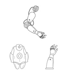 Design of robot and factory icon set of vector