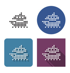 dotted icon ship in four variants with short vector image