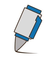 Drawing blue and white pen utensil school vector
