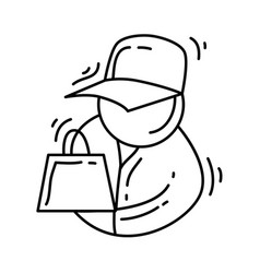 E-commerce seller hand drawn icon set outline vector