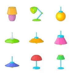 Electricity floor lamp icons set vector