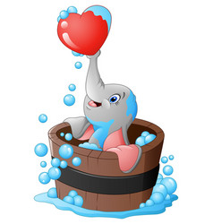 elephant playing a heart in the bathtub vector image