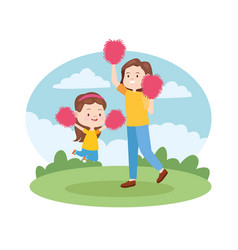 Family single mother with children cartoon vector