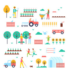 Farm workers special machines and green plants vector