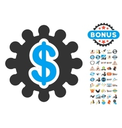 Financial Options Gear Icon With 2017 Year Bonus vector image
