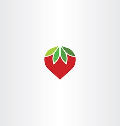 Flat strawberry icon symbol vector