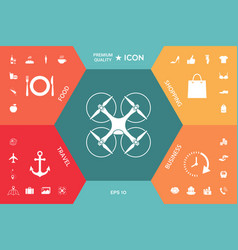 Flying drone icon vector