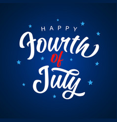 fourth july blue calligraphy banner vector image