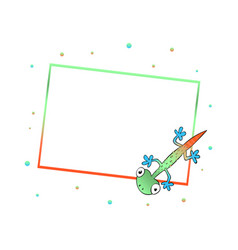 frame with cute color lizard vector image