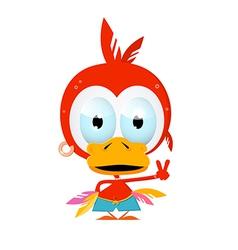 Funny Red Bird vector