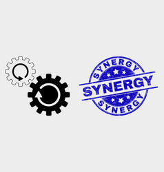 Gears rotation icon and scratched synergy vector