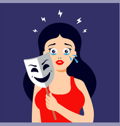 Girl hides her tears behind a smiling mask vector