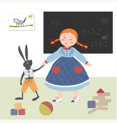 Girl plays with a hare to school in the vector