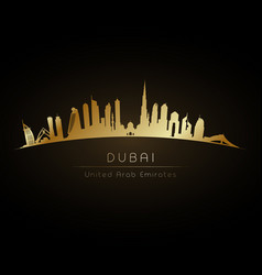 golden logo dubai uae city skyline vector image