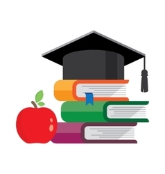 Graduation cap on books stacked vector