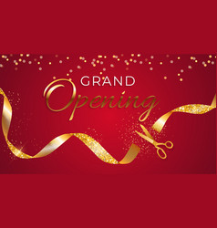 grand opening card with ribbon and scissors vector image