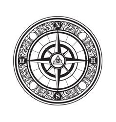 hand drawn of vintage compass tattoo artwork with vector image