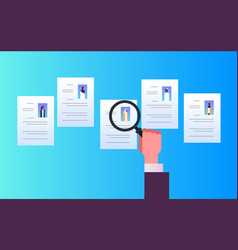hand hold magnifying zoom cv resume choosing vector image
