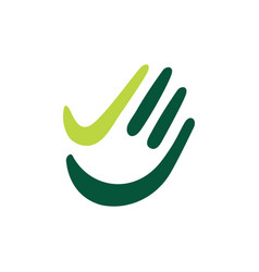 Hand palm check high five finger green logo icon vector