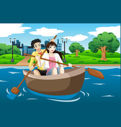happy couple rowing a boat vector image