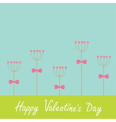 Happy Valentines Day Love card Heart stick flower vector