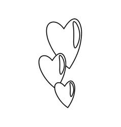 Hearts falling emotion romantic symbol line vector