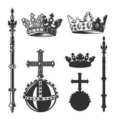 Heraldic symbols monarch set vector