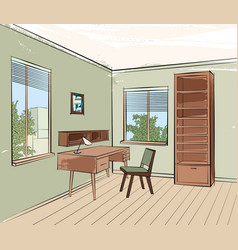 home interior work palce furniture with chair vector image