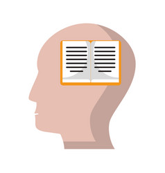 Human head book knowledge learning vector