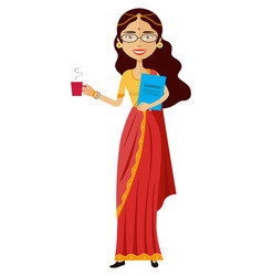 Indian business woman with a cup of tea vector