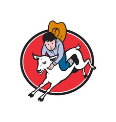 Junior rodeo cowboy riding sheep vector