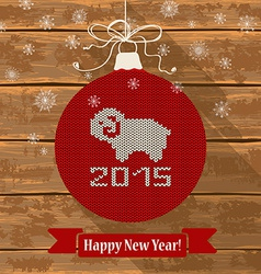 Knitted Christmas ball with sheep vector image