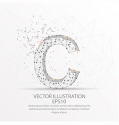 letter c form low poly wire frame on white vector image