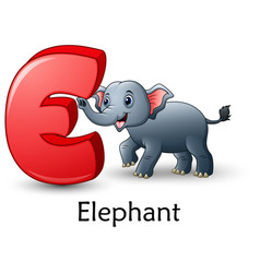 letter e is for elephant cartoon alphabet vector image