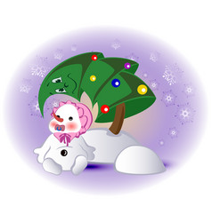 little snowman and christmas tree eps10 vector image