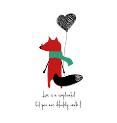 love card with red fox vector image