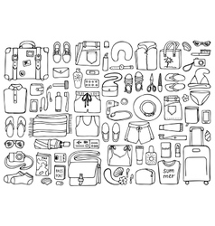 Man and Woman Travel Doodle Set vector image
