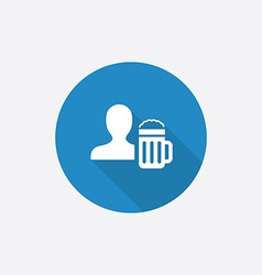 man with beer glass flat blue simple icon vector image