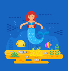 Mermaid coral reef fish and sea life vector