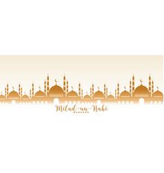 Milad un nabi mubarak mosque design banner vector