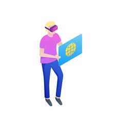 Modern blonde boy surf website with vr glasses vector