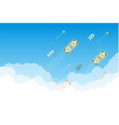 Money flying up in sky vector