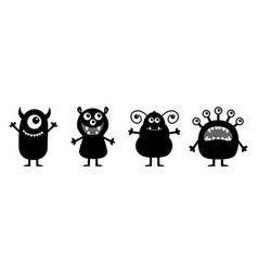Monster set line happy halloween cute kawaii vector