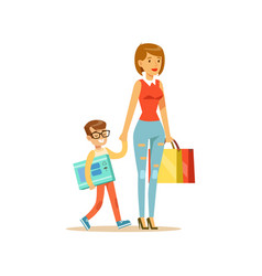 mother and happy smiling son with shopping bags vector image