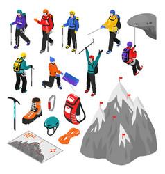 Mountaineering isometric set vector